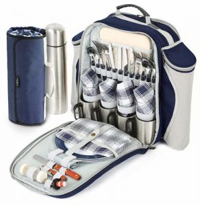 17_greenfield_collection_super_deluxe_navy_blue_picnic_backpack_hamper_for_four_people_with_matching_blanket