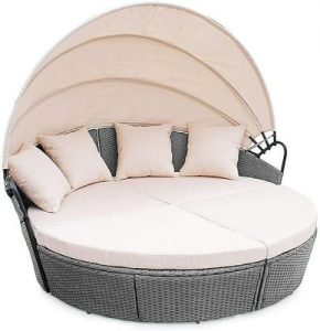 Evre Bali Day Bed Outdoor Garden Furniture Set With Canopy