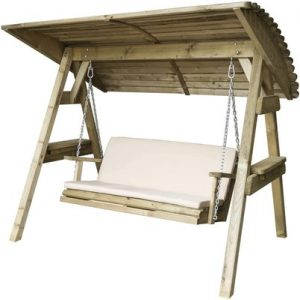 Parcel in the Attic - Avilés 2 Seat Wooden Garden Swing Chair with Canopy