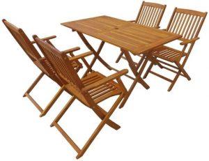 vidaXL Solid Acacia Wood Outdoor Dining Set 5