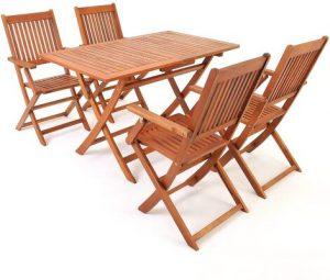 Deuba Wooden garden furniture set table chairs